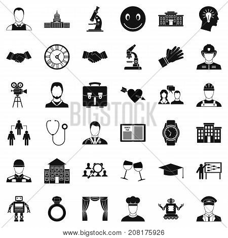 Soldier icons set. Simple style of 36 soldier vector icons for web isolated on white background