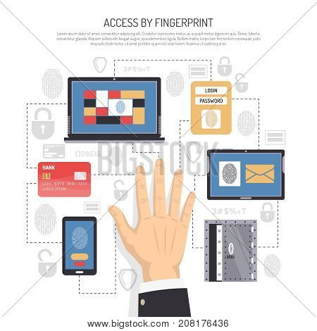 Access by fingerprint flat composition with male hand, information security system on electronic personal devices vector illustration