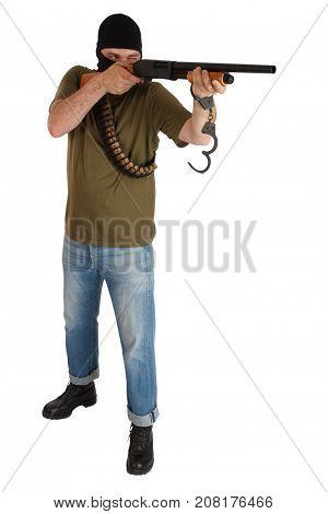 Jail Break - Robber In Black Mask With Shotgun Removing Handcuffs