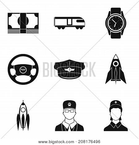 Drivers service icons set. Simple set of 9 drivers service vector icons for web isolated on white background