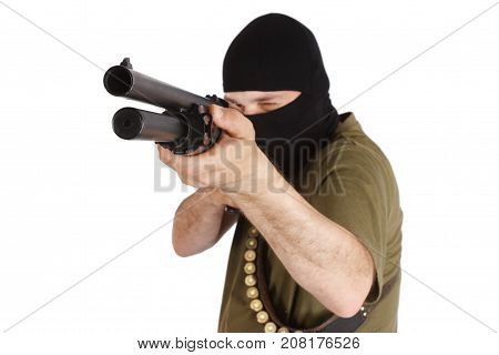 Robber In Black Mask With Shotgun
