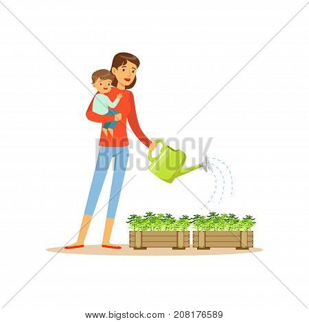 Flat super mom character watering flowers. Happy mother with her baby in her arms. Parenthood and motherhood. Caring woman with child. Taking care of the flowers. Vector illustration isolated on white
