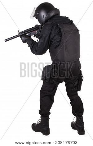 Police Special Forces Officer With Submachine Gun In Black Uniform
