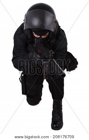 police special forces officer with submachine gun in black uniform isolated on white poster