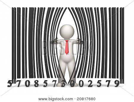 Bar Code - 3D Business Man