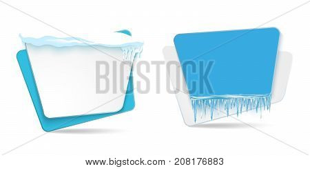 vector cartoon realistic white, blue winter empty banner templates wit snow caps, icicles set. Illustration on grey background with space for your text. Christmas, new year holidays design element