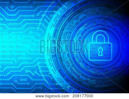 Cyber Security Data Protection Business Technology Privacy concept key lock circle and circuit board digital technology background abstract technology concept background vector illustration.