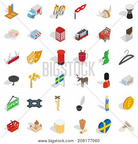 Ink icons set. Isometric style of 36 ink vector icons for web isolated on white background