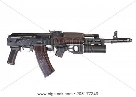 Kalashnikov Ak 74 With Gp-25 Grenade Launcher Isolated On White