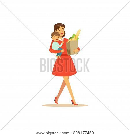 Flat super mom character, shopping. The girl is carrying food. Happy mother with her baby in her arms. Parenthood and motherhood. Caring woman with child. Vector illustration isolated on white.