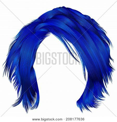 trendy woman disheveled hairs dark blue colors .  beauty fashion .  realistic 3d