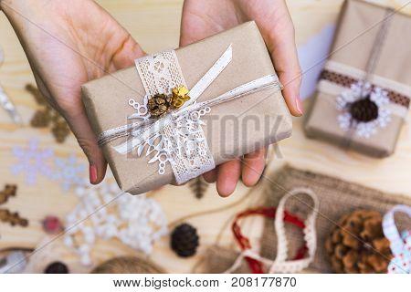 Girl Packs Gift