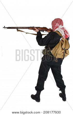 Rebel with old style rifle isolated on white