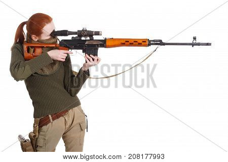 Girl Sniper With Svd Sniper Rifle
