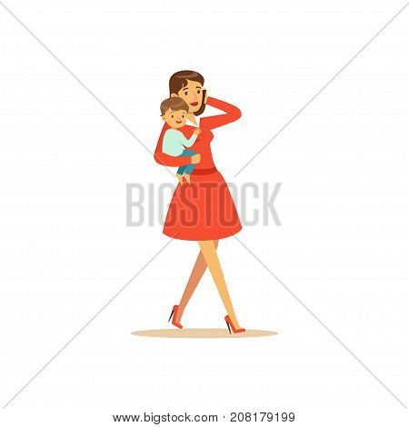 Flat super mom character, talking on the phone. Happy mother with her baby in her arms. Parenthood and motherhood. Caring woman with child. Walking the street. Vector illustration isolated on white.