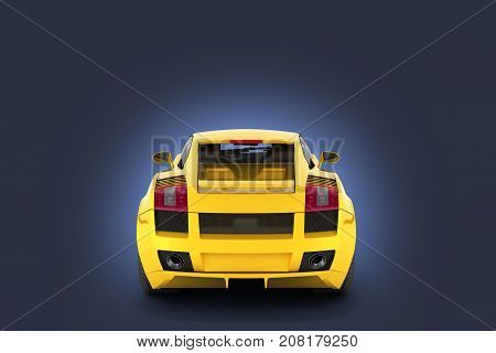 Sport Car Vehicle In Yellow Rear View Isolated On Dark Blue Gradient Background 3D