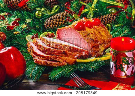 Thanksgiving Table Served With  Baked Meats, Decorated With Bright Christmas Decor And Candles. Chri