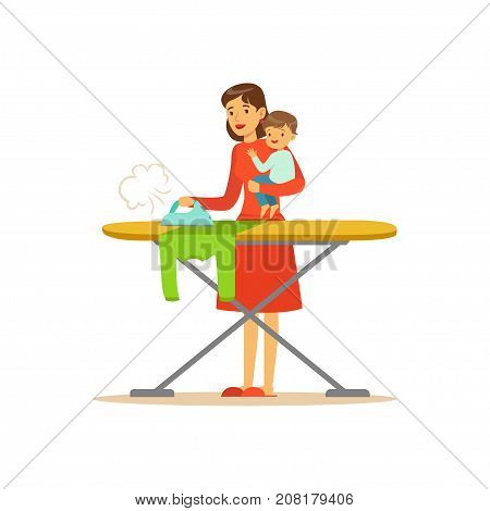 Flat super mom character, ironing clothes. Happy mother with her baby in her arms. Parenthood and motherhood. Caring woman with child. Housework. Cleaning the house. Vector illustration isolated.