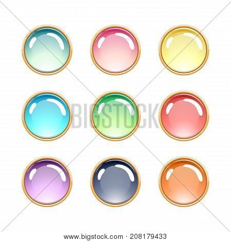Colorful glass pendants jewels in golden rim vector illustration.