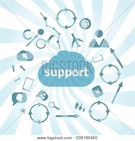 Text Support. Business Concept . Set Of Web Icons For Business, Finance And Communication