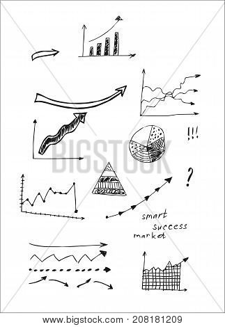 Hand drawn design vector illustration, set of arrows in doodles style, for graphic and web design