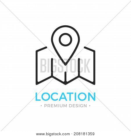 Location icon. Map with map pin, locator, geolocation, navigation concepts. Stroke, outline, linear, line style. Vector thin line icon isolated on white background
