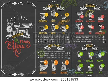 Beverage drink poster chalkboard restaurant food menu calligraphic lettering old retro vintage style vector illustration. Old-fashioned typographic card decorative cafe calligraphy.