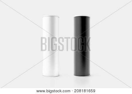 Blank black and white cardboard cylinder box mockup with plastic lid 3d rendering. Clear cyllindrical tube container with cap mock up. Snack or bottle carton packaging template. Tin round canister.
