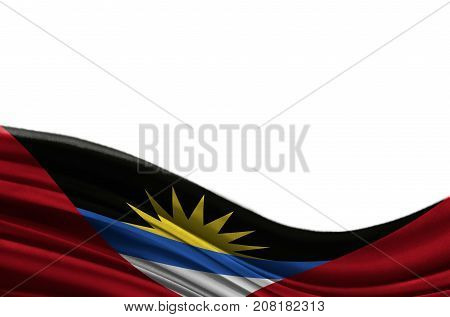 Grunge colorful flag Antigua and Barbuda with copyspace for your text or images,isolated on white background. Close up, fluttering downwind.