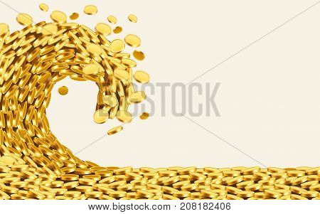 The wave of money. Huge tsunami wave of gold coins. Jackpot or success concept. Vector illustration