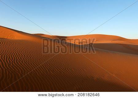 Sand dune pattern in Sahara desert Morocco