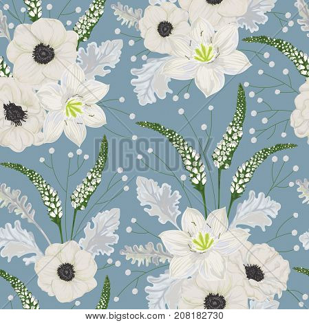 Seamless pattern with white anemone flowers, eucharis lily, dusty miller, snapdragons and gypsophila. Vintage winter floral elements. Hand drawn vector illustration in watercolor style