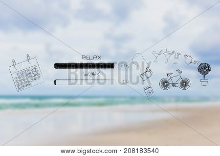 time management and procrastination concept: work and relax percentage bars with calendar and leisure objects with relax being predominant (blurred beach background)