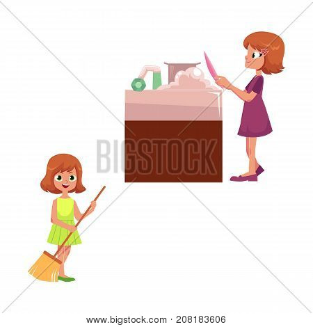 vector flat cartoon children making housework, household chores. Girl kid washing dishes at sink, child sweeping floor set. Isolated illustration on a white background.