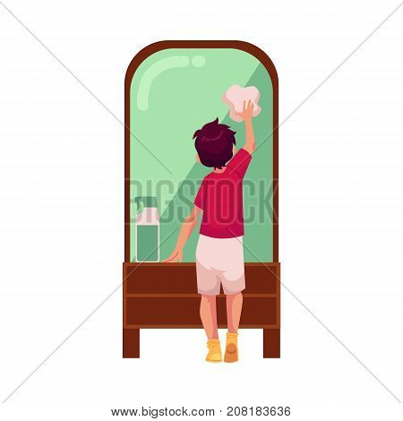 vector flat cartoon teen boy kid doing household chores - cleaning big mirror by rag. Isolated illustration on a white background. Child at home concept.
