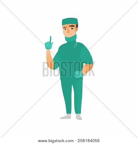 vector flat cartoon adult male doctor, surgeon in green medical uniform - mask gloves cap, pointing something out smiling. Isolated illustration on a white background.