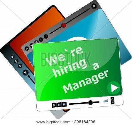 We Are Hiring A Manager. Video Media Player Set For Web, Minimalistic Design