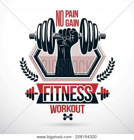 Heavy load power lifting championship vector emblem created with muscular bodybuilder arm holding dumbbell.