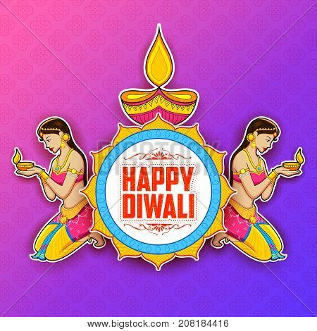 illustration of Lady burning diya on Happy Diwal Holiday background for light festival of India