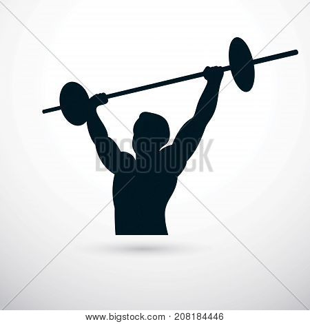Vector illustration of muscular bodybuilder holding barbell. Power lifting competition champion body silhouette.