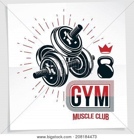 Gym advertising vector leaflet made using disc weight dumbbell and kettle bell sport fitness and power lifting equipment.