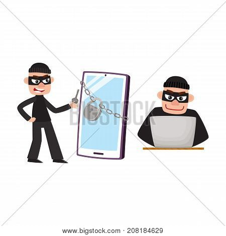 Hacker in mask breaking protection of laptop computer and phone, smartphone device, cartoon vector illustration isolated on white background. Cartoon hacker at work, hacking laptop and smartphone