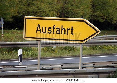 Ausfahrt Schild Deutschland Exit sign Germany Autobahn Highway