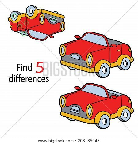 Vector illustration of kids puzzle educational game Find 5 differences for preschool children with cartoon car
