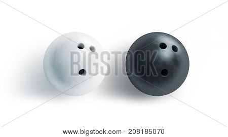 Blank black and white bowling ball mock up top view 3d rendering. Empty bowl game sphere mockup isolated. Clear leisure sport equipment template. Plain shiny orb with 3 holes recreation activity.