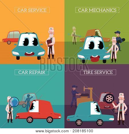 Four banners with doctor helping funny car character diagnostics, inspection, servicing and tire change, cartoon vector illustration. Car servicing, fixing, repairing concept with doctor and cre