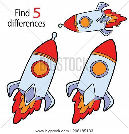 Vector illustration of kids puzzle educational game Find 5 differences for preschool children with cartoon rocket