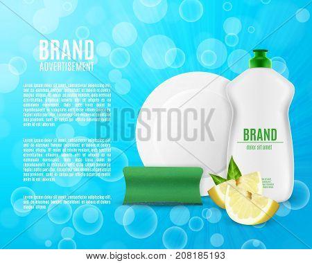 Dishwashing liquid bottle with sponge and plate. Washing dishes ads. 3d illustration. EPS10 vector