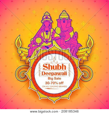 illustration of Goddess Lakshmi and Lord Ganesha on happy Holiday Sale promotion advertisement background for light festival of India with message Shubh Deepawali meaning Happy Diwali