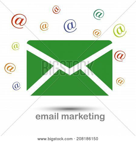 Email marketing icon on white background with an inscription. Vector illustration.